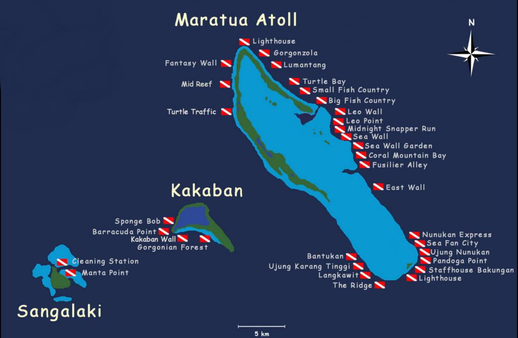 carte de l'archipel de Derawan