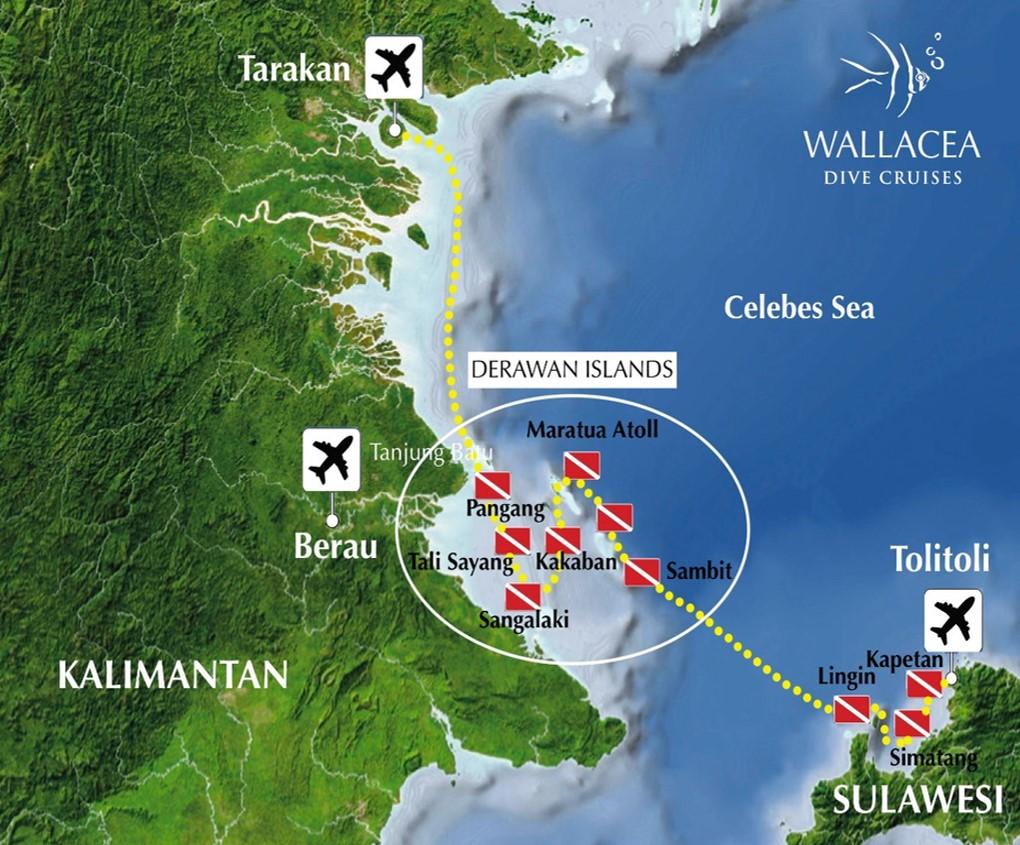 Derawan - Mer de Célèbes - map